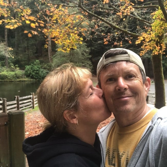 David Kaufman and wife Lisa Picotte at Sequoia Park in California, United States