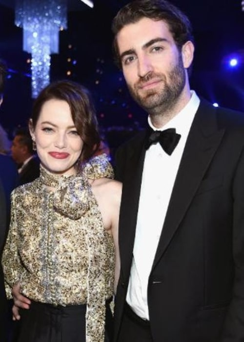 Dave McCary and Emma Stone, as seen in April 2019