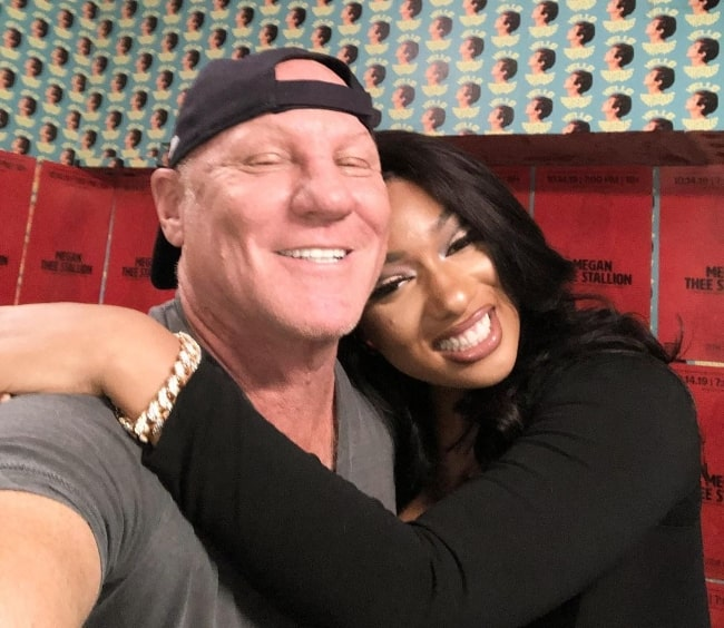 Steve Madden smiling for a selfie alongside Megan Thee Stallion at the Music Hall of Williamsburg in October 2019
