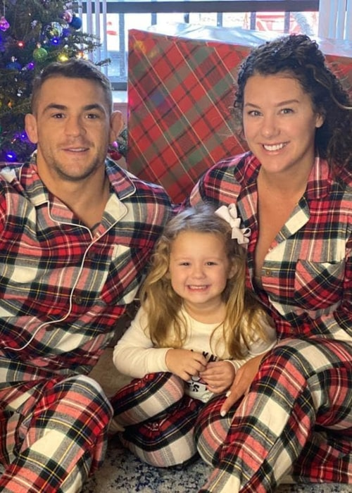 Dustin Poirier, with his wife and daughter, as seen in December 2020