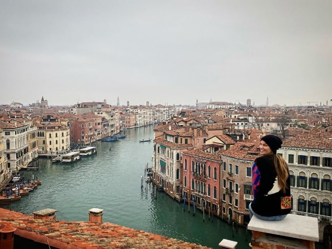 Bianca Brandolini d'Adda as seen while smiling for a stunning picture in Venice, Italy