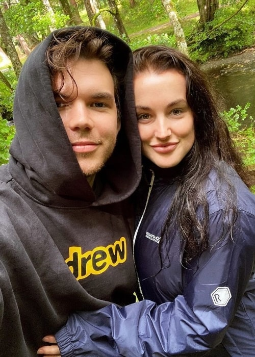 Luke Newton as seen while taking a selfie with Jade Davies at Lake Vyrnwy in Powys, Wales in August 2020