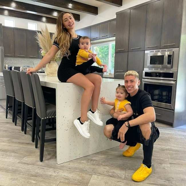 Ryan Johnston as seen in a picture with his beau Leslie Hernandez and their children Bellamy and Arya in February 2021