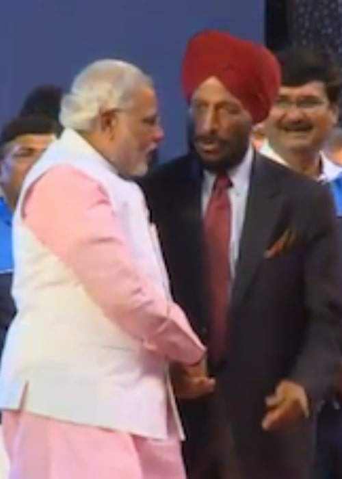 Milkha Singh (Right) and Narendra Modi during an event