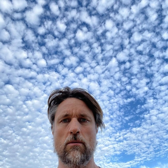 Martin Henderson taking a selfie while also capturing the stunning clouds in Malibu, California in December 2020