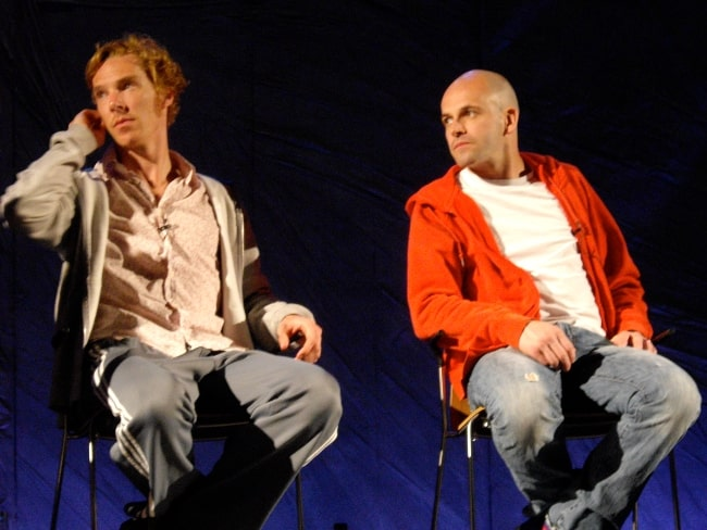 Jonny Lee Miller (Right) and Benedict Cumberbatch at Frankenstein Q&A at the National Theatre in January 2008