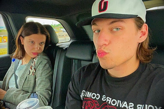 Jacob Hurley Bongiovi as seen while pouting in a selfie with Millie Bobby Brown in 2021