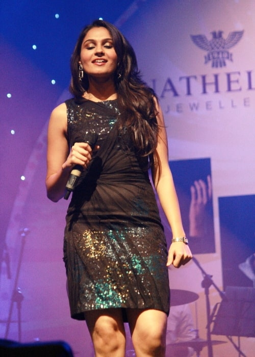 Andrea Jeremiah as seen in a picture that was taken during a live performance in April 2013