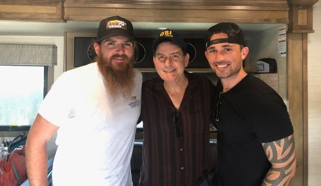 From Left to Right - Tim Montana, Charlie Sheen, and Michael Ray in October 2019