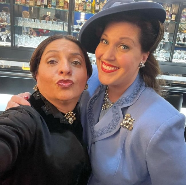 Veronica Falcón (Left) as seen while pouting in a selfie with Allison Tolman in June 2021
