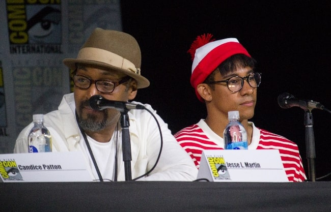 Jesse L. Martin (Left) and Keiynan Lonsdale speaking at the 2017 San Diego Comic-Con International, for 'The Flash', at the San Diego Convention Center in San Diego, California