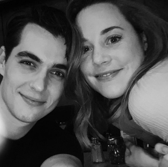 Erika Henningsen and Kyle Selig in a black-and-white selfie in February 2020