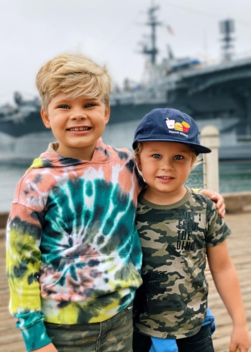Finley Lanning as seen in a picture with his brother Oliver Lanning at the USS Midway Museum in October 2020