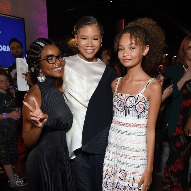 Nico Parker as seen in a picture that was taken with actress Storm Reid and Marsai Martin in August 2019