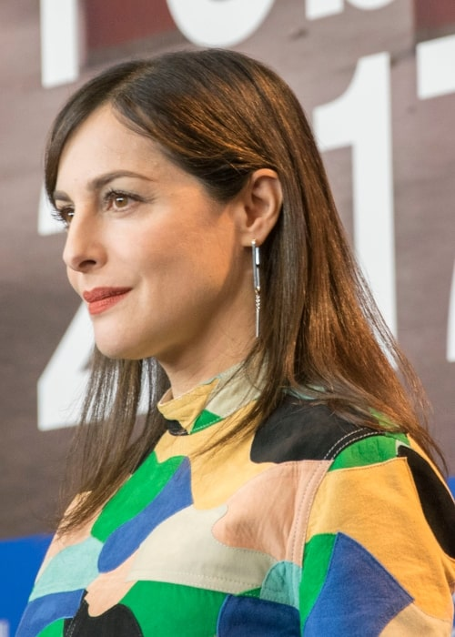 Amira Casar as seen in a picture that was taken at the press conference of the film Call Me by Your Name at the 2017 Berlin International Film Festival on February 13