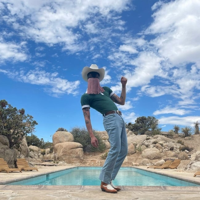 Orville Peck as seen while posing for a stunning picture in Joshua Tree, California in July 2021