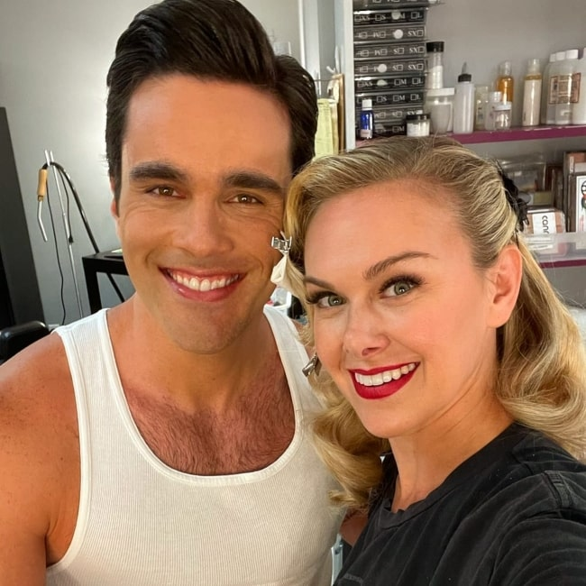 Ryan-James Hatanaka and actress Laura Bell Bundy in a selfie that was taken on the set of The Fairly OddParents in Los Angeles, California in July 2021