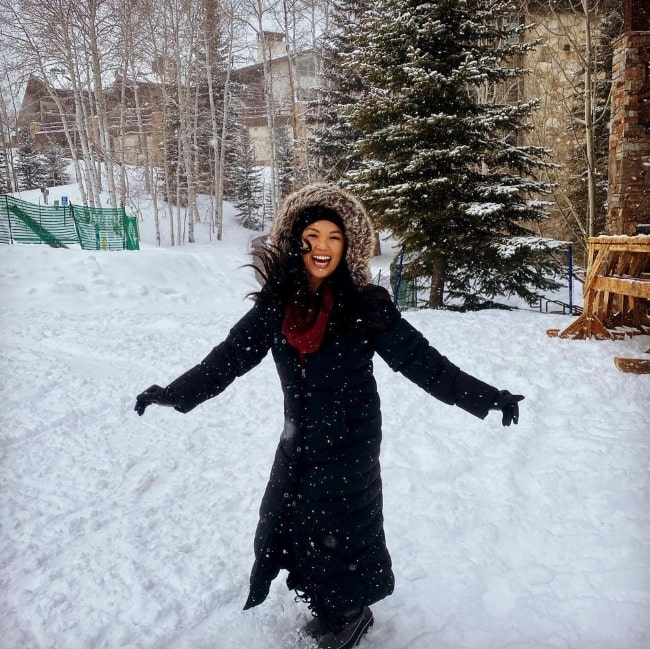 Nikki SooHoo pictured while enjoying her time in the snow at Deer Valley Resort in February 2021