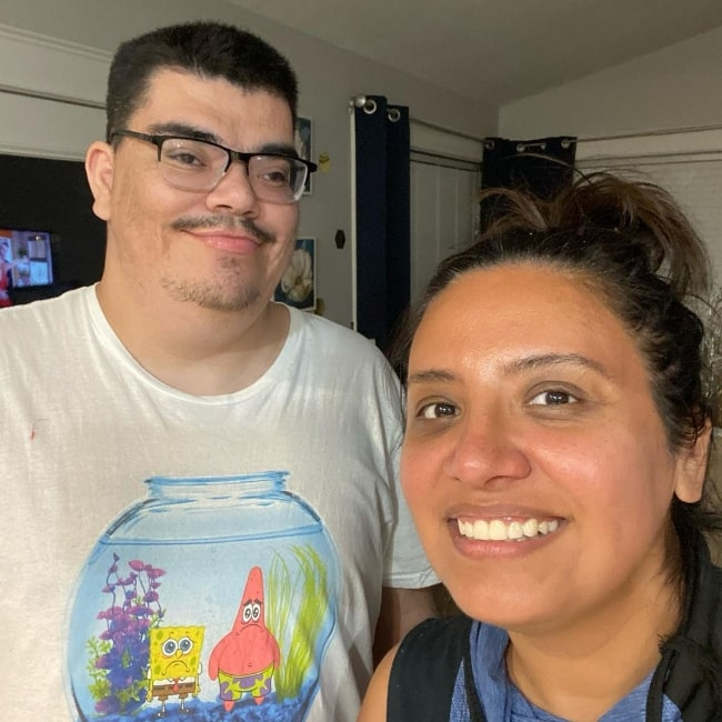 Cristela Alonzo smiling in a selfie with her nephew Sergio in May 2021