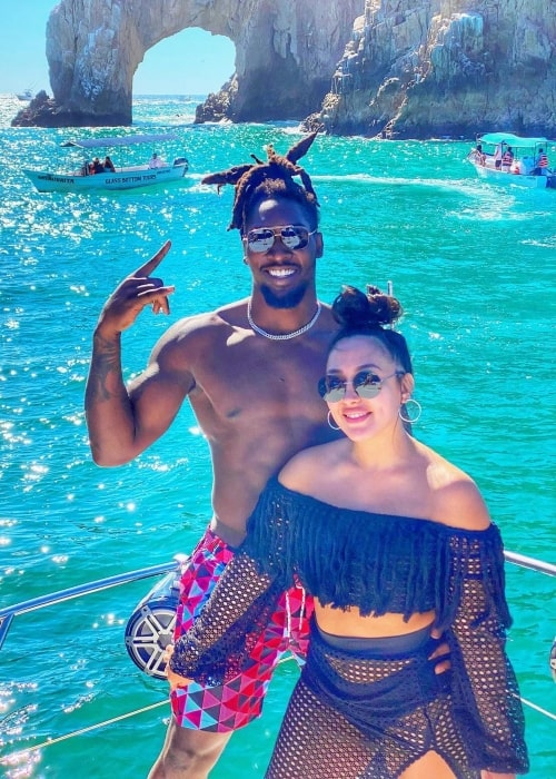 DeMarcus Lawrence as seen in a picture with his wife Sasha Lawrence in February 2021