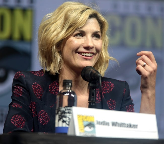 Jodie Whittaker pictured while speaking at the 2018 San Diego Comic Con International, for 'Entertainment Weekly's Women Who Kick Ass', at the San Diego Convention Center in San Diego, California