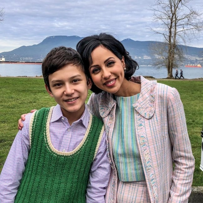 Mystic Inscho as seen in a picture that was taken in June 2021, with actress Gia Sandhu