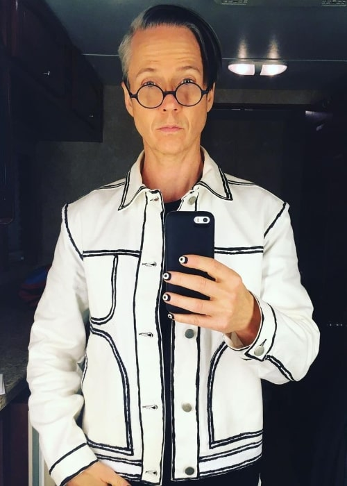 John Cameron Mitchell as seen while taking a mirror selfie in Portland, Oregon in December 2020