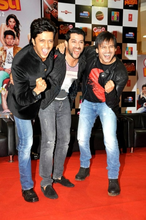 From Left to Right - Riteish Deshmukh, Aftab Shivdasani, and Vivek Oberoi at the audio release of 'Grand Masti' at R-City Mall