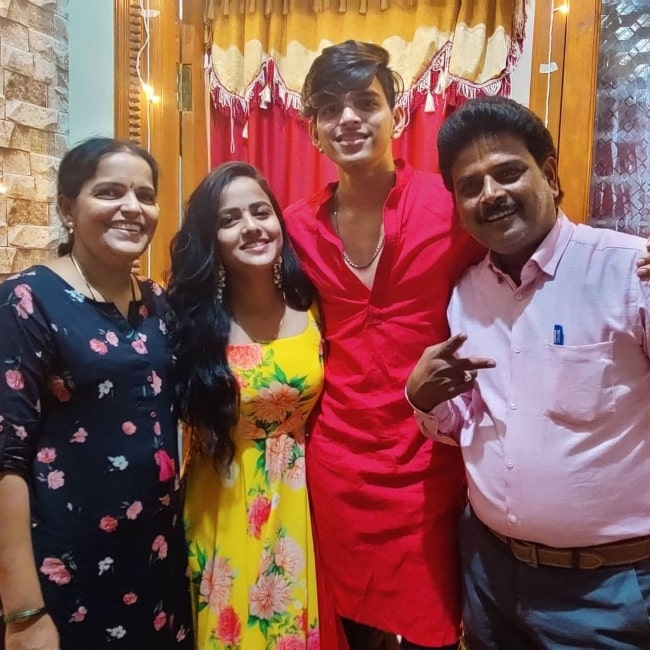 Vaishnavi Chaitanya as seen in a picture with her parents and brother Nitish that was taken in December 2020