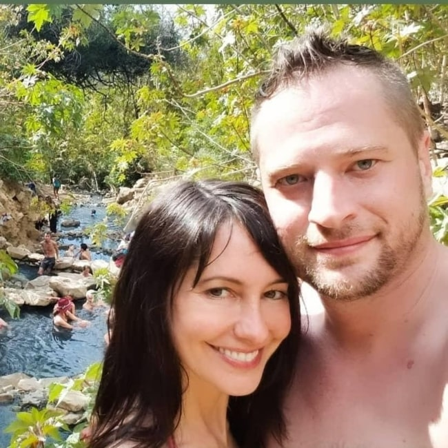 Charlene Amoia as seen in a selfie that was taken with her beau zacandabackpack at Hot Springs Trail in March 2021