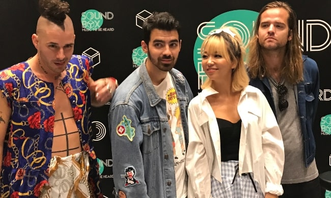 DNCE members (left to right) Cole Whittle, Joe Jonas, JinJoo Lee, and Jack Lawless at at Soundbox, Bangkok on August 10, 2017