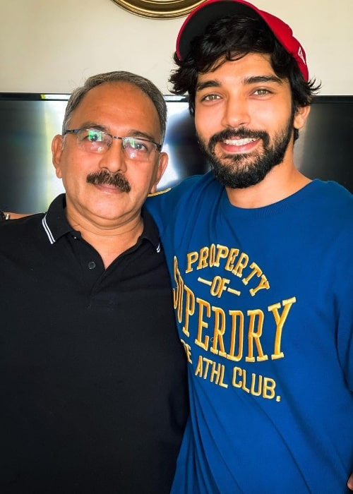 Harsh Rajput with his father in an Instagram post in June 2021