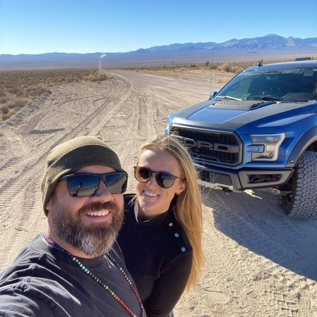 Carl Olinselot as seen in a selfie with his wife Jinger Olinselot in Area 51, Nevada, in April 2021