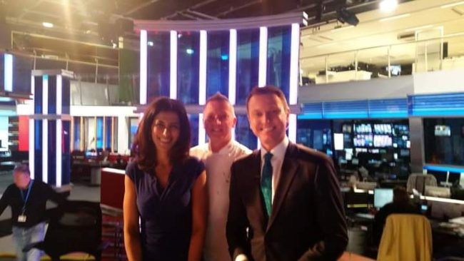 Stephen Dixon (right) as seen with his colleagues from Sky News