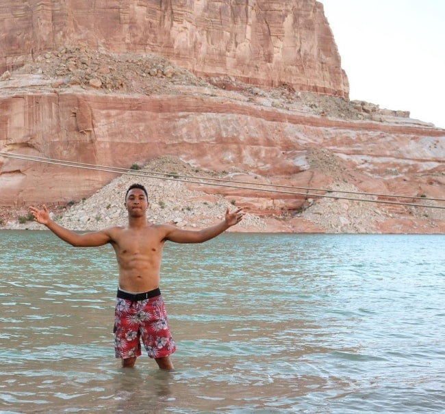 Brandon Armstrong as seen while posing for a picture in Lake Powell, Utah in April 2020