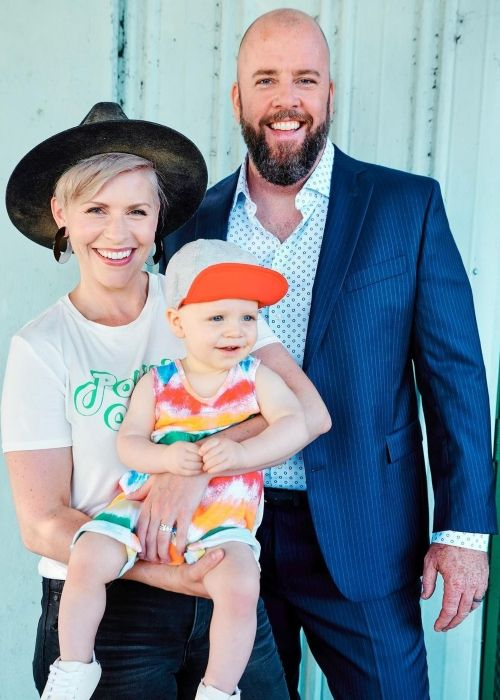 Chris Sullivan as seen with his wife and son in July 2021
