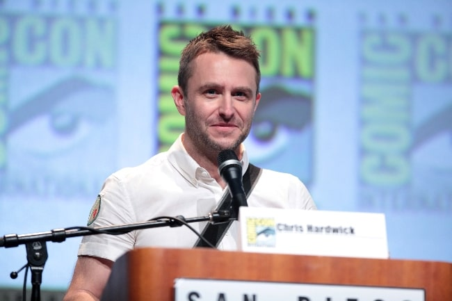 Chris Hardwick speaking at the 2015 San Diego Comic Con International, for 'Star Wars The Force Awakens', at the San Diego Convention Center in San Diego, California