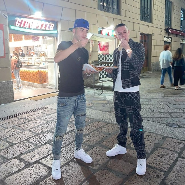 Aitch (Right) and rapper Shiva pictured while enjoying a pizza in Milan, Italy in September 2021