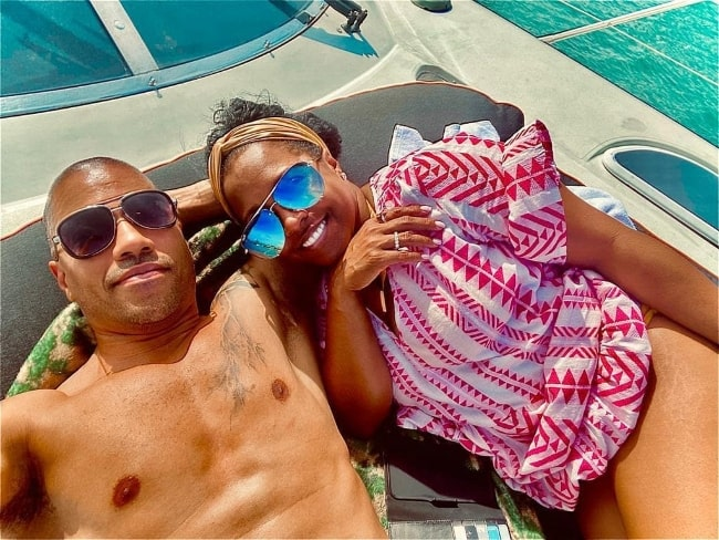 Brad James as seen while taking a selfie with wife Keshia Knight Pulliam in 2021