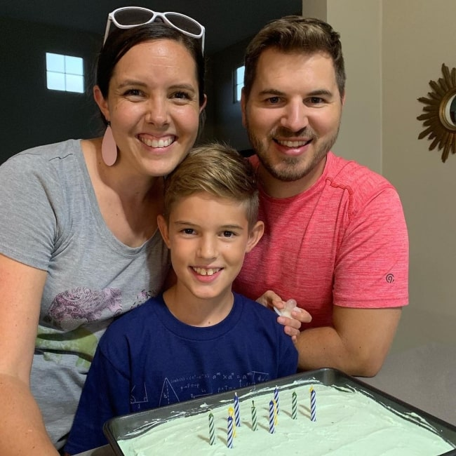 Isaac Johnston as seen in a picture with his parents Kendra and Jeremy Johnston in August 2019